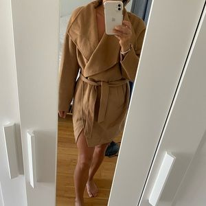 Zara tan wrap pea coat